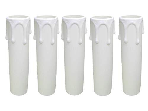 AMBROS - Kristall 5X E14 Fassunghülse ~ Kerzenhülse 85mm Kunststoff Weiß Ø 24/26mm