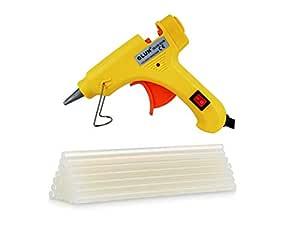 GLUN 20W 20 WATT 7MM HOT MELT Glue Gun (10 Sticks, Yellow)