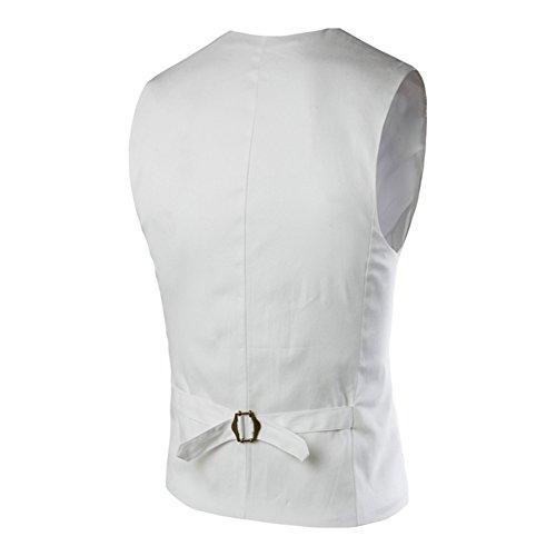 Highdas Kleid Westen Herren Slim Fit Herren Anzug Weste Mann Weste Beilaufige Sleeveless Formale Geschafts Jacke Weiß