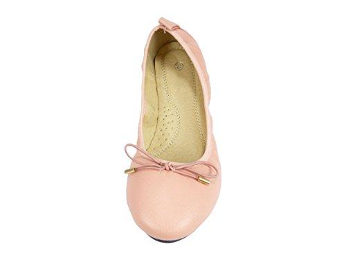 Ballerinas, Frauen, elastisch, mit Schleife Rosa