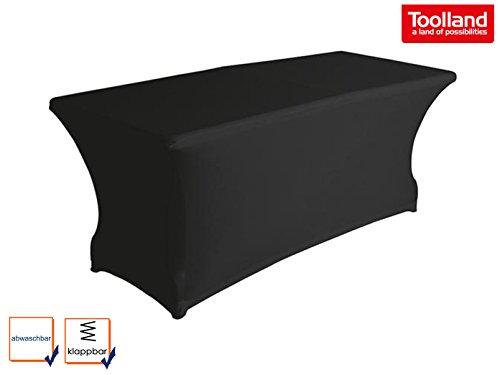 Stabiler Gartentisch Klapptisch aus Kunststoff mit schwarzer Stretch Husse