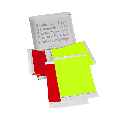 Doppio Pacchetto! GA Event Solutions Braccialetti di identificazione Tyvek, Giallo Neon + Rosso, 500+500 pezzi