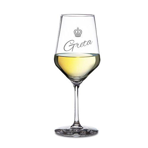 AMAVEL ? Weißweinglas mit Gravur ? Personalisiert mit [Namen] ? Krone ? Königin ? Echtglas ? originelle Geschenkidee zum Geburtstag für Frauen ? Weinglas Gravur ? großes Weißwein Glas