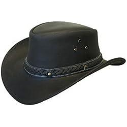 Infinity Unisex Negro Safari de Cuero Arbusto Australiano Cowboy Style Clásico Occidental Outback Sombrero XL