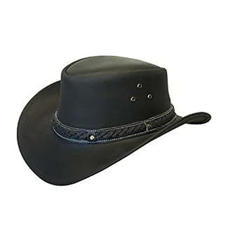 Infinity Unisex Black Leather Bush Safari Aussie Cowboy Style Classic Western Outback Hat S