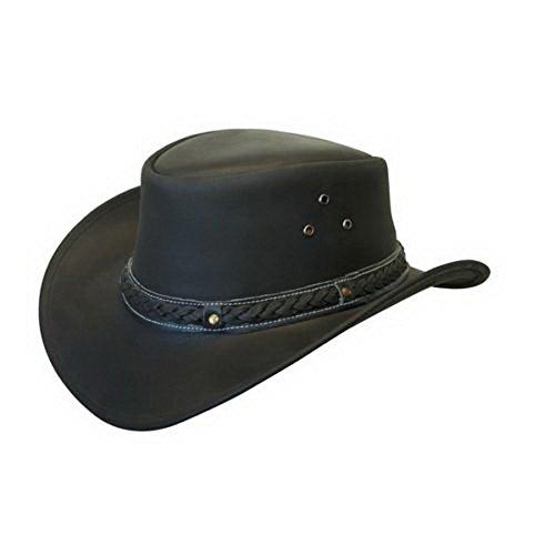 Infinity Unisex Schwarze Leder Busch Safari Aussie Cowboyhute Stil Klassische Western Outback Hut L
