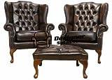 Designer Sofas4u Chesterfield bieten Paar Mallory Flach Wing Hohe Rückenlehne Sessel Fußhocker