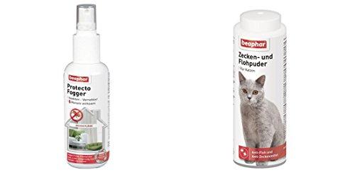 1 Set Zecken- und Flohpuder 100g Katze am Tier anwendbar und für die Umgebung Protecto Plus 150ml