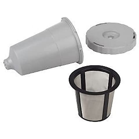 Reusable K-Cup coffee filter exclusive to the Keurig Home Brewing System - Keurig My K-Cup Replacement Coffee Filter Set 3 pieces Gray Color fits B30 B31 B40 B50 B60 B70 by Gold Tone