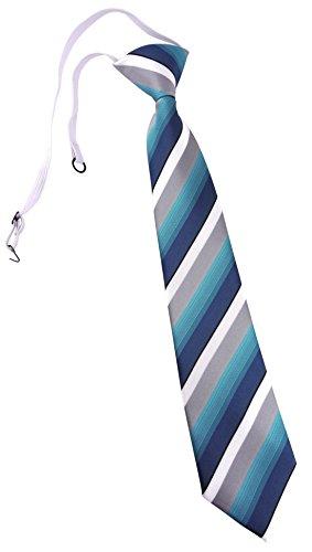 TigerTie Kinderkrawatte in türkis petrol grau weiss gestreift - Krawatte vorgebunden mit Gummizug
