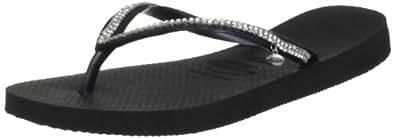 Havaianas Womens' Slim Crystal Mesh Sw Ii Flip Flops Black 1/2 UK (35/36 EU)