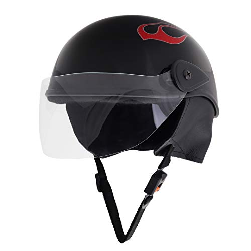 Sage Square Scooty Half Helmet for Men, Women (Medium, Black Glossy Sticker Design 4)