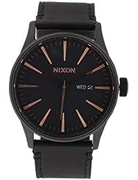 Nixon Sentry Reloj con correa de piel, color negro/oro rosa