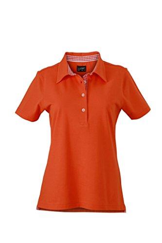 JAMES & NICHOLSON Maglia polo da donna con inserto alla moda dark-orange/dark-orange/white