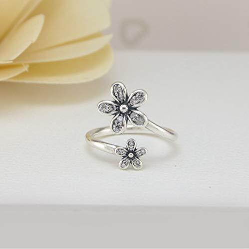 YOYOYAYA Ring 925 Sterling Silber Schmuck Flower Daisy Ring Der Öffnen Delikatesse Dating Einfachheit Mädchen Geburtstag Gedenken Geschenk Hochzeit Romance Fantasy
