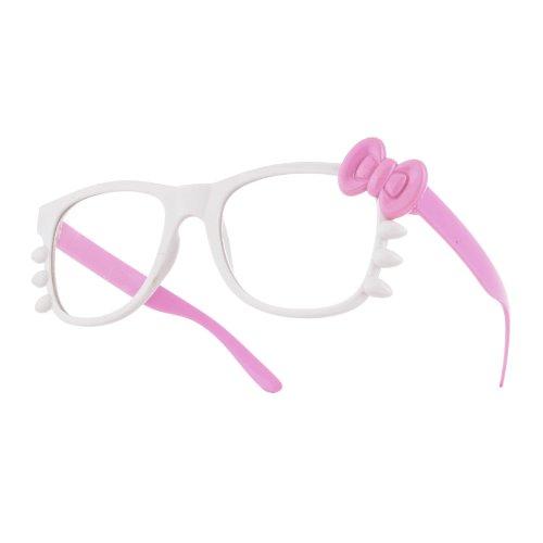 4sold (TM) Hello Kitty Vintage Classic Nerd Geek negro gafas marco Classic Unisex (hombre, Mujer) Geek estilo retro 1980de ofertas no no moda gafas de sol lentes de ahumado completo de protección UV400, mujer hombre Infantil, Harry, white pink, universal