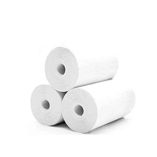 Simplehouse bedruckbare Aufkleber-Papierrolle, 5 Stück, weiß, direkt Thermopapier, selbstklebend, 57 x 30 mm, Kassenpapier, für Paperang und Mini Wireless Mobile Instant Drucker, Thermo-Kassenrollen