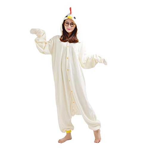 Erwachsene Kostüm Hahn Für - DarkCom Tier-Kostüm für Erwachsene Unisex-Modell Einteiler Jumpsuit ideal Pyjama oder Cosplay-Verkleidung Weißen Hahn