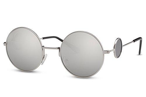 Cheapass Sonnenbrille Rund John Lennon Silber Verspiegelt UV-400 Festival-Brille Metall Damen (80er Jungs Jahre Mode Für)