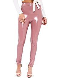 Re Tech UK Mujer Látex Vinilo Leggings Brillantes PVC Pu Talle Alto Elástico Efecto Mojado Disco