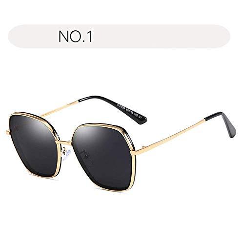 XHCP Frauen polarisierte Klassische Flieger-Sonnenbrille, Katzenauge-Sonnenbrille für Frauen spiegelte Flache Linsen-Straßen-Moderne Mode-Metallrahmen-Sonnenbrille UV400 wider (Farbe: NO.1, Größe