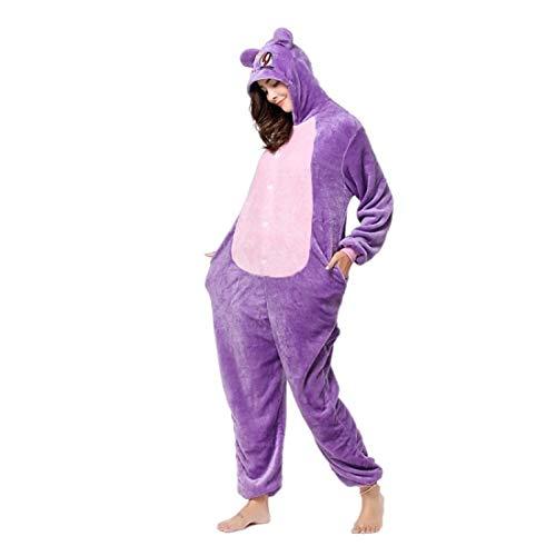 DUKUNKUN Erwachsene Pyjamas Katze/AFFE Pyjamas Kostüm Flanell Lila Cosplay Für Tier Nachtwäsche Cartoon Halloween - Regenbogen Affe Kostüm
