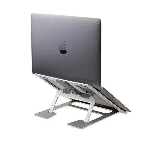 Soudance Verstellbarer Belüfteter Laptopständer für Schreibtisch, Tragbarer Ergonomischer Halter Kompakter Riser für Mac MacBook Pro / Air und Alle Apple Notebooks, Aluminium Silber AS1