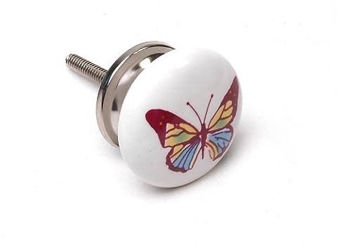 Butterflies Ceramic 38mm Cupboard Knob Cabinet Knob Kitchen Handle Drawer Pull x Pack 1 - 'Mango Tree' TM Registered Product