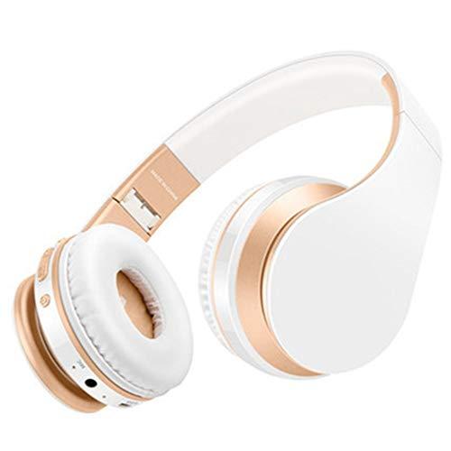 TGSKGZKJDBMD Headsets Bluetooth Kopfhörer Drahtlose Kopfhörer Stereo Bass Headset Ohrhörer Faltbare Sport Kopfhörer mit Mikrofon MP3-Player, Weißgold