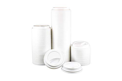 HeloGreen Einweg-Kaffeetassen-Deckel: kuppelförmig, recycelbar, ideal für heiße Tassen, Reisen, Getränke passend für 227 ml Papier-Kaffeebecher, Weiß (100 Set) (20 Unze-kaffee-tasse Deckel)