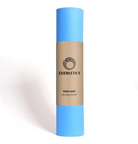 Yoga-Matte Pro Blau von Everletics aus umweltfreundlichem TPE-Schaum. Sehr rutschfeste, schadstofffreie, hypoallergene und hautfreundliche Gymnastik-Matte, Fitness-Matte, Turn-Matte