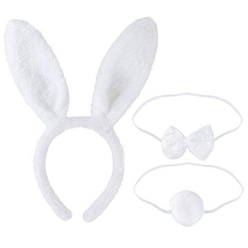 LUOEM Bunny Kostüm-Set mit Haarreif Fliege Schwanz für Kinder Erwachsene Party Cosplay Weihnachten Kostüm 3 Stücke (Weiß) (Bunny Tail Kostüm Zubehör)