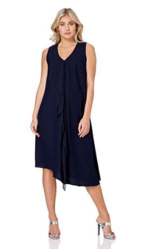 Roman Originals Damen Asymmetrisches Kleid mit Wasserfallausschnitt in Gelb - Marine-Blau - Größe...