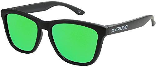 X-CRUZE® 9-069 X01 Nerd Sonnenbrillen polarisiert Style Stil Retro Vintage Retro Unisex Herren Damen Männer Frauen Brille Nerdbrille - schwarz matt LW/grün verspiegelt
