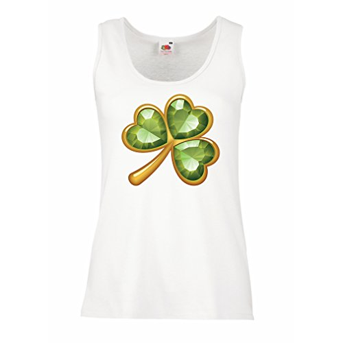 Femme Débardeur Sans manche Irish shamrock St Patricks day Vêtements de fête irlandais Blanc Multicolore
