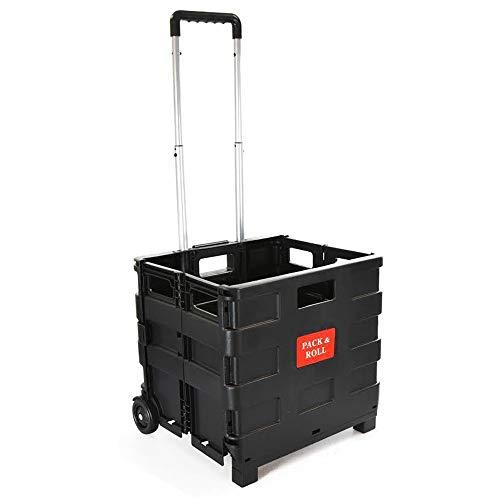 Faltbar Kunststoff Einkaufskorb–leicht Teacher 's Book Cart–Rädern zusammenklappbar Aufbewahrungsbox mit Aluminium Griff