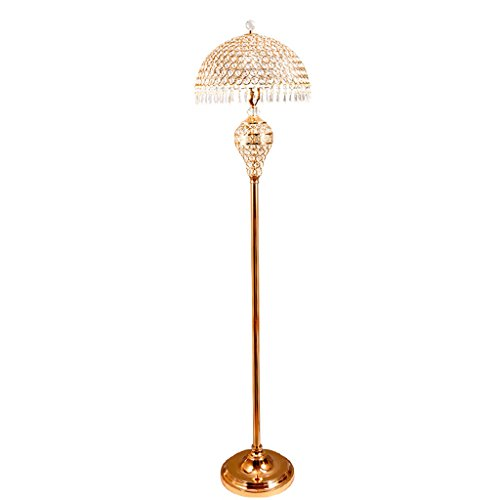 MMM- Stehlampe, europäischen Kristall Stehlampe Wohnzimmer Schlafzimmer luxuriöse Eisen Licht Körper Kristall Lampenschirm E27 Boden Typ Tischlampe (Größe: 26 * 150cm) (Farbe : Gold) - Kristalle Körper