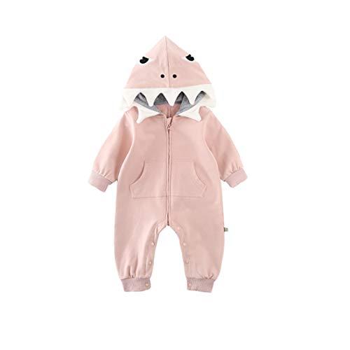 Fairy Baby Jungen Baby Mädchen 3D Karikatur Hai Kostüm Mit Kapuze Strampler Overall Kleider Size 73(6-9 Monate) (Rosa)