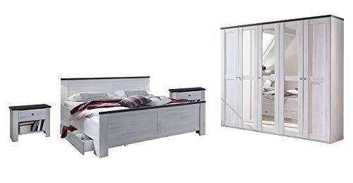 Wimex Schlafzimmer Set mit Bett, Nachttisch/ Nachtschrank 2-er Set, Kleiderschrank/ Drehtürenschrank Chateau, Liegefläche 180 x 200 cm, Weiß - Bett Chateau