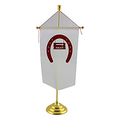 Table flag with The image of a signboard with the word next in a horseshoe . I used OCAL clipart called Fer A Cheval uploaded by jdaniel . Thanks.