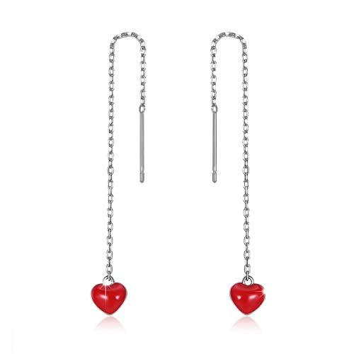 b2a42d2391dd5 Red Heart Dangle Threader Earrings Bracelet, 925 Sterling Silver Long Cute  Love Heart Open Drop Earrings Fashion Gift Jewlery with Birthday Gift to ...