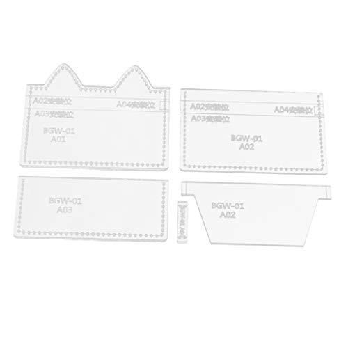 P Prettyia 5 Pcs Leder Handwerk Acryl Geldbörse Schablone Schneideisen Werkzeugset für Kartenetui Kartenfächer
