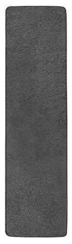 misento 292113 Langflor / Hochflorteppich Shaggy Läufer einfarbig weicher Flor Teppichläufer Brücke uni, 67 x 250 cm, grau