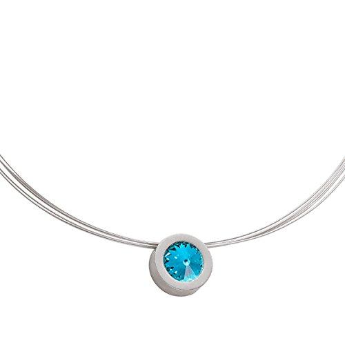 Heideman Halskette Damen Coma 16 aus Edelstahl Silber farbend matt Kette für Frauen mit Swarovski Stein Kristall hell blau im Fantasie Edelsteinschliff