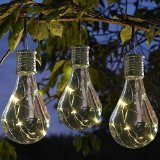 6 x Multi-Coloured Ornamental light Bulb Firefly Hanging Solar Powered Outdoor Garden Lights