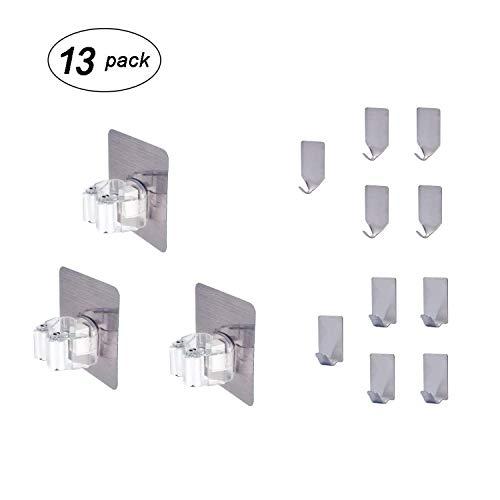 Ishowstore Klebehaken für Wischmopp, Besenhalter, Wandmontage, strapazierfähig, für Handtücher, Aufbewahrung, klebrige Haken für Wände, wasserdicht, 13 Stück (3 Mop-Halter + 10 Haken)