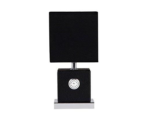 PINCHU Stoff & Leder Führte E27 Tischlampe Moderne Kurze Uhr Tischlampe Für Wohnzimmer Schlafzimmer Gästezimmer,Black (Stück Wohnzimmer Leder 3)