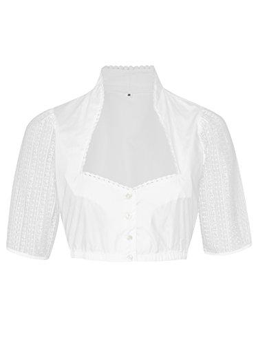 Schöneberger Trachten Couture Elegante & Exklusive Dirndlbluse mit Stehkragen, Knopfleiste und Ärmel aus Spitze - Dirndl Bluse Alpenkuss (34, Weiss)