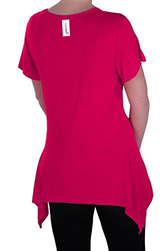 EyeCatch Plus - Haut manches courtes asymétrique stretch - Solange - Femme - Plusieurs Tailles et Couleurs Fuschia