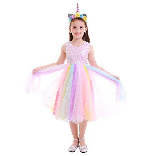 IWEMEK Baby Mädchen Einhorn Regenbogen Geburtstag Kleid Halloween Kostüm für Kinder Prinzessin Blumenmädchenkleid Hochzeit Festzug Weihnachten Karneval Ankleiden Cosplay 9-10 ()